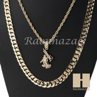 "MEN ICED OUT UZI ROPE CHAIN DIAMOND CUT 30"" CUBAN LINK CHAIN NECKLACE SET SS04G"