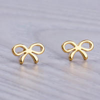 "Bow earrings, gold stud earrings, stainless steel post earrings, bridesmaid earrings, stud earrings, gold bow, small earrings,  ""Tiny Bow"""