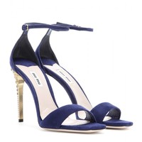 miu miu - suede sandals with embellished heel