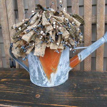 Rusty / Galvanized Watering Can Floral Arrangement-Country-Garden-Farmhouse-Cottage-Primitive-Lodge-Rags & Berries