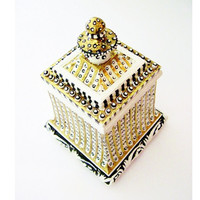 Black and White and Gold Leafed Lidded Trinket Box - Striped and Dotted
