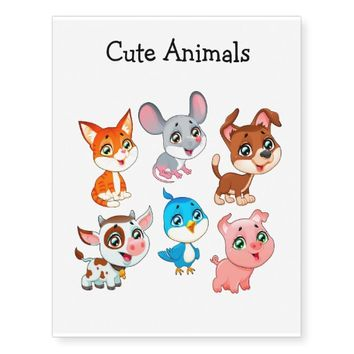 Cute Animals Temporary Tattoos