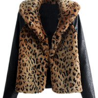 ROMWE Panel Leopard Zippered Cool Coat