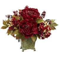 nearly natural Peony & Hydrangea Silk Flower Arrangement (Red)