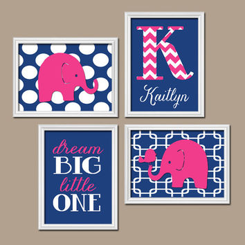 Navy Blue Pink Chevron Monogram Child Name Elephant Bird Polka Dot Dream Big Little One Nursery Artwork Set of 4 Prints Baby Girl WALL ART