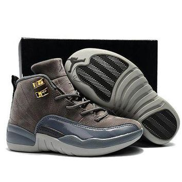 PEAPGE2 Beauty Ticks Kids Air Jordan 12 Retro Wolf Gray Sport Shoe Us 11c - 3y