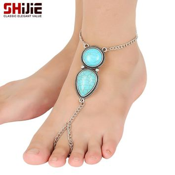 Women's Bohemian Turquoise Barefoot Sandals