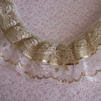 Gathered Triple Ruffled Lace with Ribbon-White Lace with Gold-Christmas Lace Trim-Bridal Accessories-Lace for Costumes-Lace by the Yard