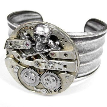 Steampunk  Cuff  INDUSTRIAL Vintage SKULL Pocket by edmdesigns