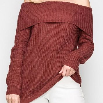 Ribbed Long Sleeve Off The Shoulder Sweater
