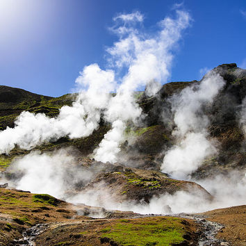 Iceland Geothermal Area With Steam From Hot Springs