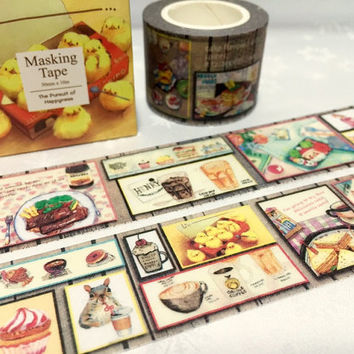 yummy food washi tape 10M x 3cm food party cute cooking menu kawaii food adorable food party deco masking tape party invitation decor