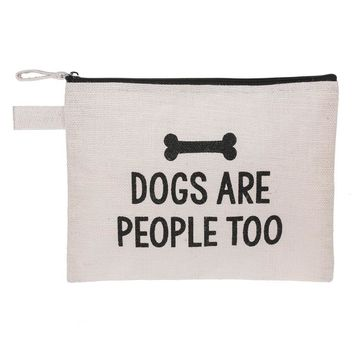 Dogs Are People Too | Zippered Jute Fabric Pouch