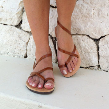 women sandals, strap sandal, brown sandals, leather sandals