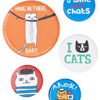 ModCloth Cats Chat's Out of the Bag Button Set