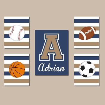 SPORTS Wall Art, Boy Sports Nursery Decor, CANVAS or Prints, Big Boy Room Decor,Football Baseball Basketball Soccer Balls Set of 5 Pictures