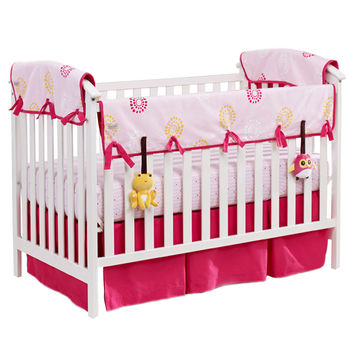 Blossoms & Dots Pink Organic Nursery Bedding Set (Pink Trim)