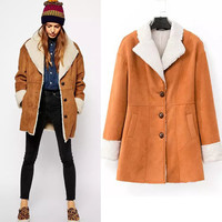 Faux Suede Lamb Fur Collar Long Sleeve Coat
