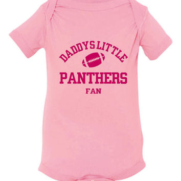 DADDYS LITTLE PANTHERS Fan Girls Pink Toddler Shirt Or Creeper Carolina Panthers Fan Football Tshirts