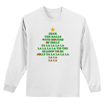 Deck the Halls Lyrics Christmas Tree Adult Long Sleeve Shirt