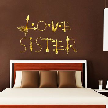 Boho Arrows Wall Decals Love Sister Decal Boho Vinyl Sticker Bohemian Bedroom Decor for Home  T58