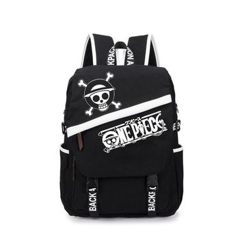 Anime Backpack School MeanCat kawaii cute Collection One Piece Backpack Luffy Tokyo Ghoul SAO Naruto Fairy Tail Black Shoulder Backpacks AT_60_4