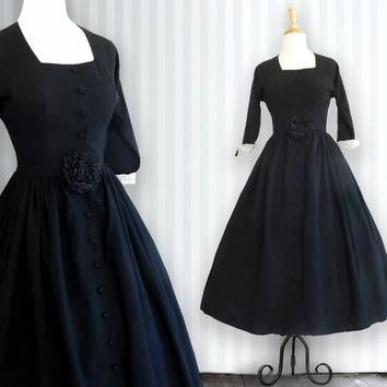 1940s Dress 40s  - 3/4 sleeve Dress - Black Dress - Vintage Dress - Wool Dress White Linen Detail - Dress Women's Clothing