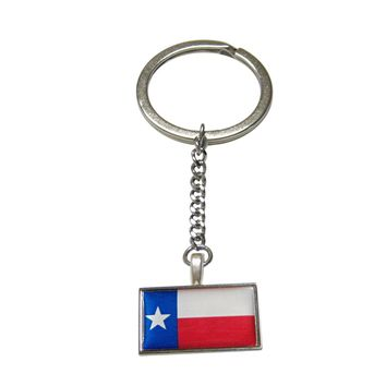 Thin Bordered Texas Flag Pendant Keychain