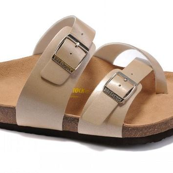 Birkenstock Summer Fashion Leather Cork Flats Beach Lovers Slippers Beige Casual Sand