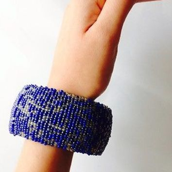 Gorgeous Blue Beaded Cuff Bangle