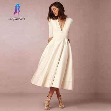 Simple Ivory Satin Tea Length Evening Dresses With Half Sleeves Sexy Deep V Neck Custom Made Formal Women Evening Gowns