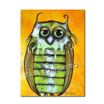 Grandpa Owl - orig. owl illustration on paper - Acrylic paint & watercolor - funny owls - pop art owl - drawing -