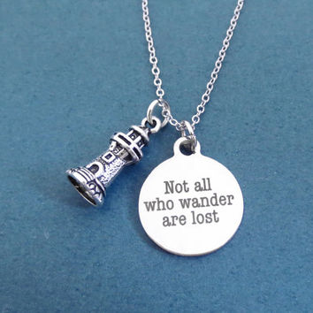 Not all who wander are lost, Lighthouse, Silver, Necklace, Birthday, Friendship, Best friends, Gift, Accessory, Jewelry
