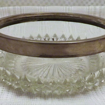 Vintage Godinger Italian Cut Crystal with Silver Plate Serving Bowl