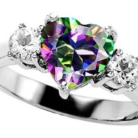 Amazon.com: Original Star K(tm) Heart Shape 8mm Rainbow Mystic Topaz Engagement Ring: Star K: Jewelry