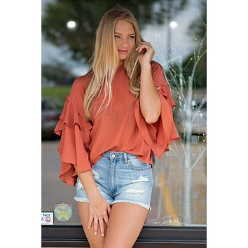 Touch Of Spice Flutter Sleeve Top : Brick