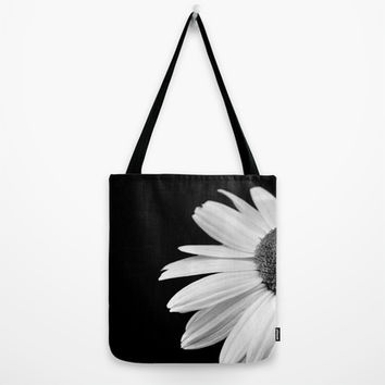 Half Daisy in Black and White Tote Bag by ARTbyJWP