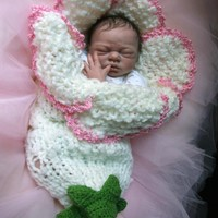Original design new style newborn baby bell flower cocoon white pink photography props handmade in Canada Available for twins
