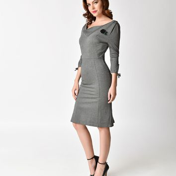 Unique Vintage 1940s Style Charcoal Grey Carmen Half Sleeve Wiggle Dress