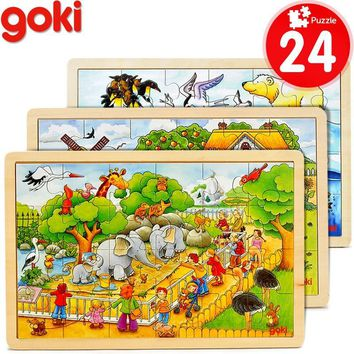 60 PCs cartoon wooden puzzles/ brand gokie assemble wood puzzle toys /kids Children early learning educational toys, 30*20cm