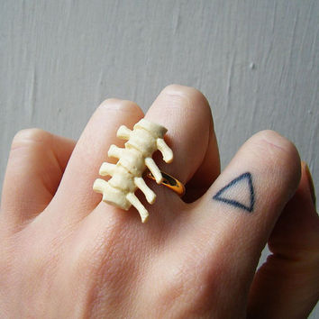 $10.91 Adjustable Ring  Vintage Plastic TRex by theTriangleOfBears