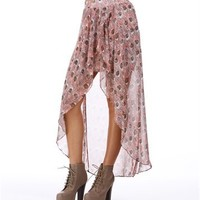 Pink/Grey Hi Lo Hem Wrap Skirt