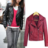 WOMEN PU Soft Leather Zipper Jacket coat S-XL
