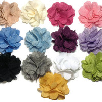 You pick color - burlap flower hair clip - hair bows for girls toddlers and babies - big flower hair clip - teens hair clip