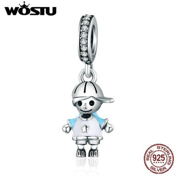 WOSTU Brand New 100% 925 Sterling Silver Little Cute Boy Son Pendant Dangle fit Charm Bracelet Necklace DIY Jewelry Gift CQC544
