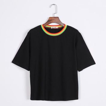 Tops and Tees T-Shirt 2017 New Summer  Cute Rainbow Harajuku s Women Clothing Cotton Best Friends Black White Tee Clothes Short Sleeves AT_60_4 AT_60_4