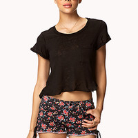 FOREVER 21 Lace-Up Floral Cut Offs Black/Red