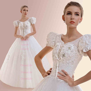Scoop Neckline Lace Short Sleeves Lace-Up Back Beading Wedding Dresses/Ball Gown/Dress for Wedding/Bridal Dresses/X112