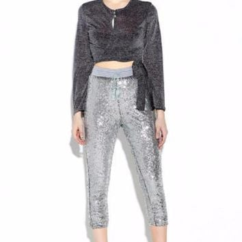 Silver Sequin Tasseled Joggers