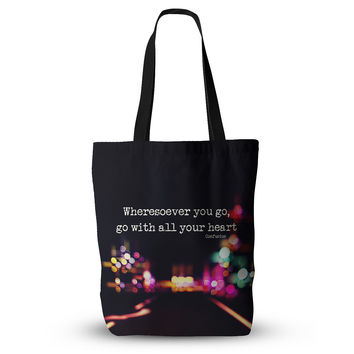 "Ingrid Beddoes ""Road Trip"" Neon Black Everything Tote Bag"